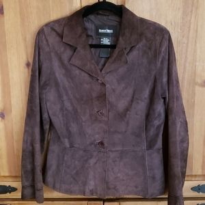 Brandon Thomas Womens Suede Leather Jacket